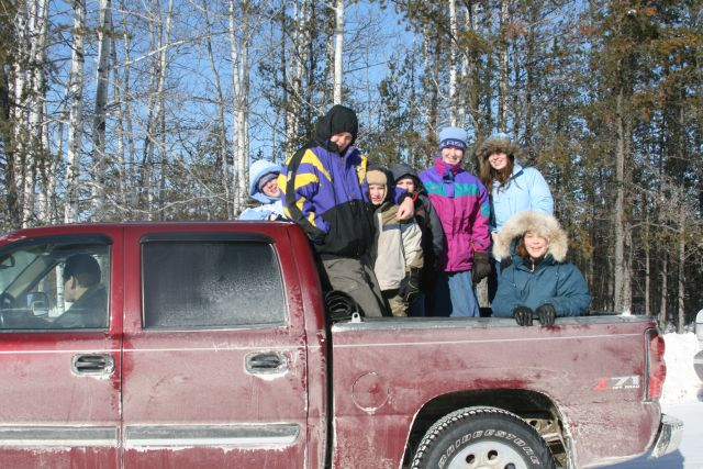 kids in the truck bed