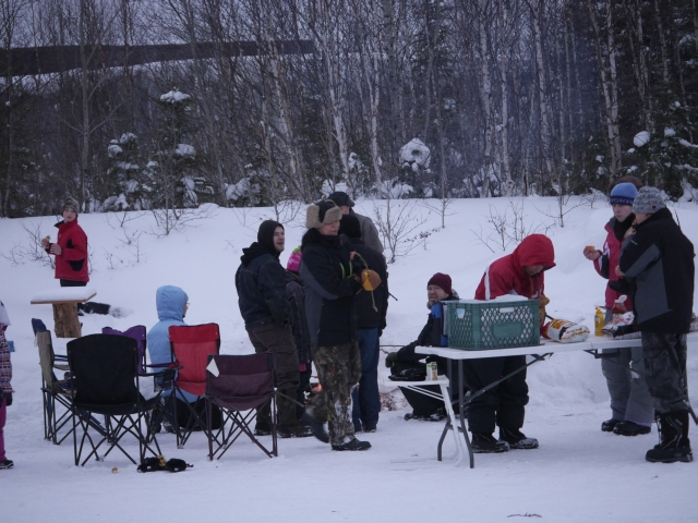 sledding followed by a cookout