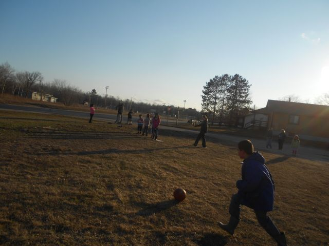 It was warm and dry enough to play our game outside!