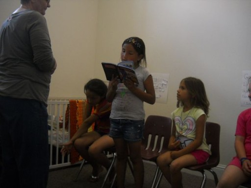 reading Bible stories in 3rd and 4th grade class