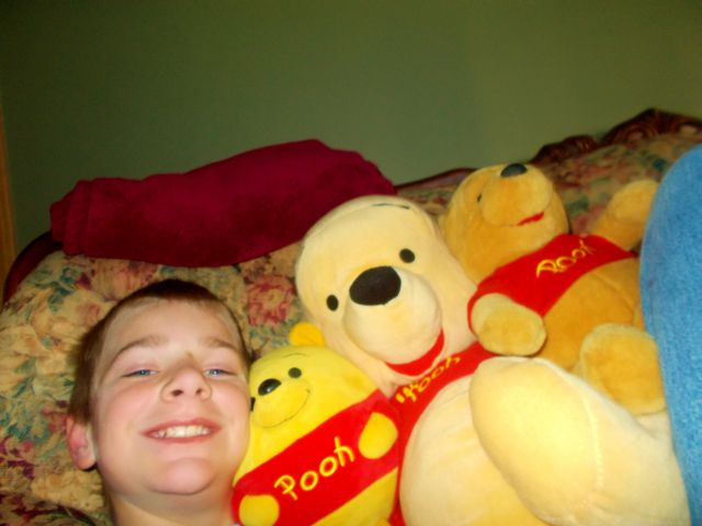 Jonathan made friends with many Pooh-bears