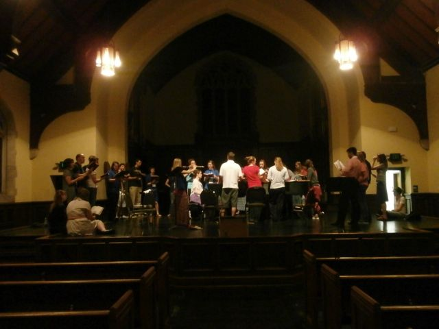 a hymn sing in the old church building