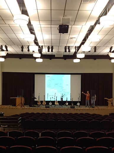 setting up in the auditorium